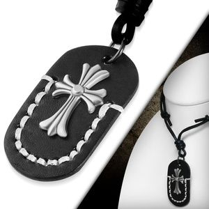 Fashion Fleur De Lis Cross Tag Charm Adjustable